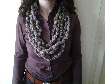 Brown scarf at tours, neck, wool necklace