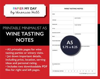 A5 Filofax Wine Tasting Journal - Minimalist Design