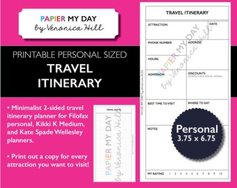 Filofax Travel Itinerary - Printable Travel Journal for Filofax Personal, Kikki K Medium size planners