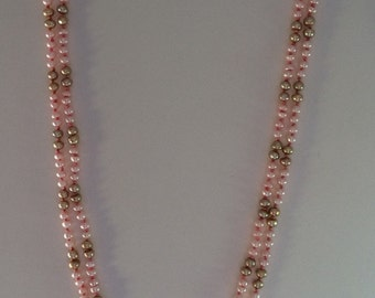 Pink and gold freshwater pearl necklace