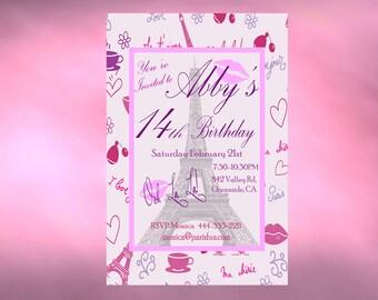 Printable Birthday Invitation Paris Personalized Birthday Invitation DIY Printable Paris Invite