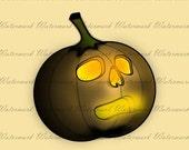 60% OFF SALE Halloween Clipart KP182-Glowing Pumpkin - Printable clipart Digital image Transfer Supplies Cardmaking Scrapbooking Instant Dow