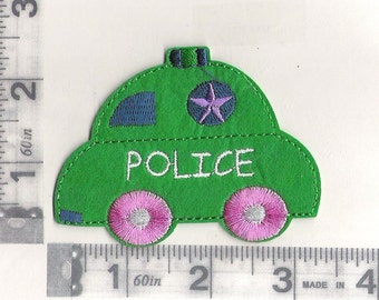 Round about police car iron on patch