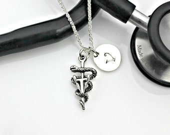 VET TECH Initial Personalized Necklace in sterling silver - veterinary technician