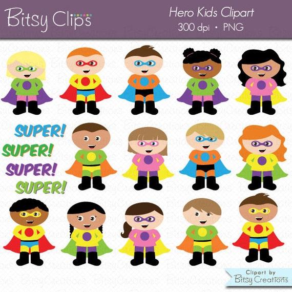 Hero Kids Digital Art Set Clipart Commercial Use Clip Art INSTANT Download Hero Clip Art