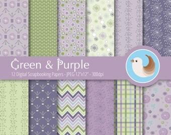 Green and Purple Digital Paper Set - Purple Digital Paper Wet - Spring Digital Paper - Set of 12 Digital Scrapbooking Papers