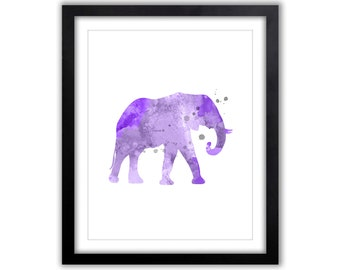 Elephant Wall Art - Watercolor Print - Elephant Art Print - EL044