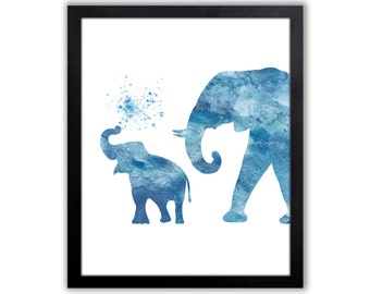 Watercolor Elephant Painting - Elephant Art - Elephant Wall Decor - Blue Elephant - EL036