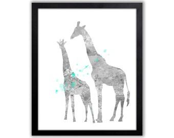 Girls Giraffe Art, Turquoise And Gray, Giraffe Nursery Decor - GI014