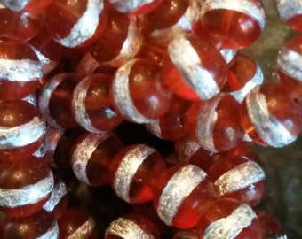 8mm Light Red Glass Striped Bead