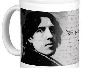 "Artistic Oscar Wilde Mug with Quote: ""Be yourself; everyone else is already taken."""
