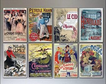 8 Vintage French Poster Fridge Magnets - Shabby Chic, bohemian