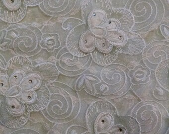 Modesty panel with floral lace and rhinestones and organza ties