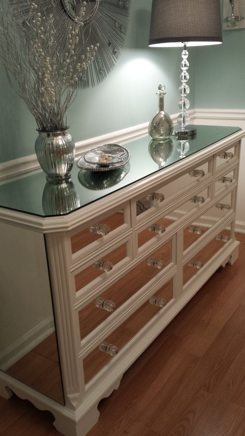Mirrored Dresser White With Trim Glamorous 10 Drawer Shabby