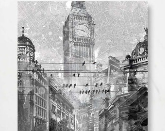 "CHALKBOARD LONDON;Canvas Art by Eric Yang;30""x30"" London Big Ben Travel"