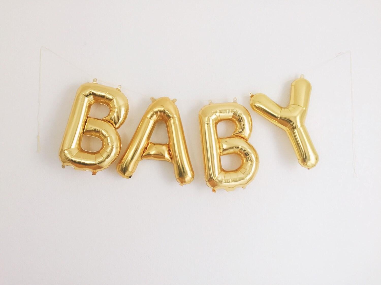 Baby letter balloons gold mylar foil letters baby shower for Gold letter balloons