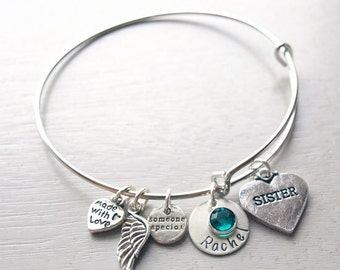Sister Personalized Hand Stamped Adjustable Wire Bangle Bracelet