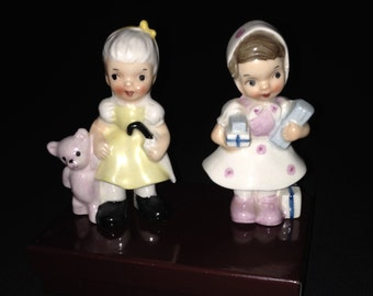 Vintage Ucagco Figurines with Stickers – Dress in Pink & White carrying Gifts and Little Girl Yellow Dress Unbrella