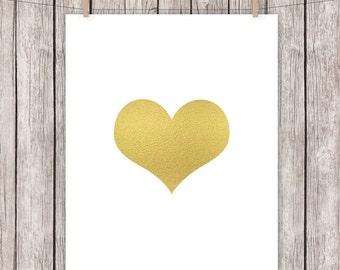 8x10 Gold Foil Art Print, Heart Love Wall Art 8 x 10 Instant Download