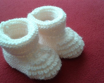 Hand Knitted Baby Booties 0-3 months Cream