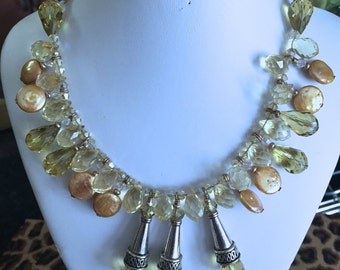 SOLD--Citrine Crystals and Pearl Necklace (SOLD)