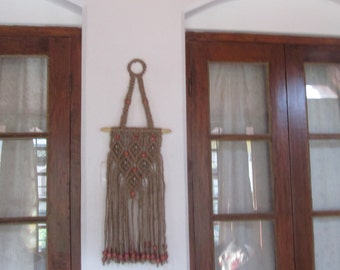 Natural jute macrame wall hanging/keychain holder,jute wall hanging/wall decor/,beaded macrame key holder,