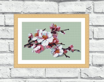 "Counted cross stitch pattern of ""Cherry Blossom"". Modern, elegant and vibrant, perfect for any room. (P082)"