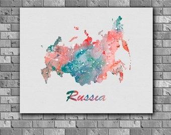 Russia Map watercolor - Art Print, instant download, Watercolor Print, poster