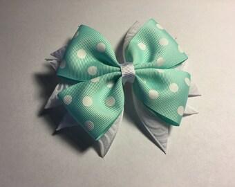 Aqua and White Boutique Bow