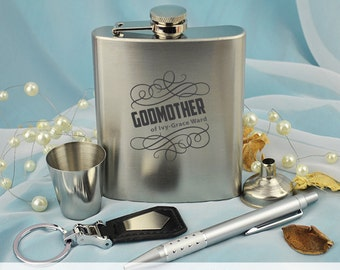 Godmother / Godfather Laser Engraved Flask Gift Set