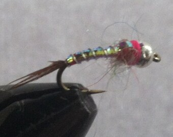 Hand Tied Flies, One Dozen, Rainbow Warriors, Made in the USA, Trout Flies, Rainbow Warrior Nymph, Nymph Flies