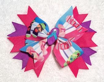 Summer Hair Bow - 5 inch Stacked Boutique Flip Flops Pinwheel Hairbow w Center Embellishment - Handmade - Beach, Spring, Summer, Vacation