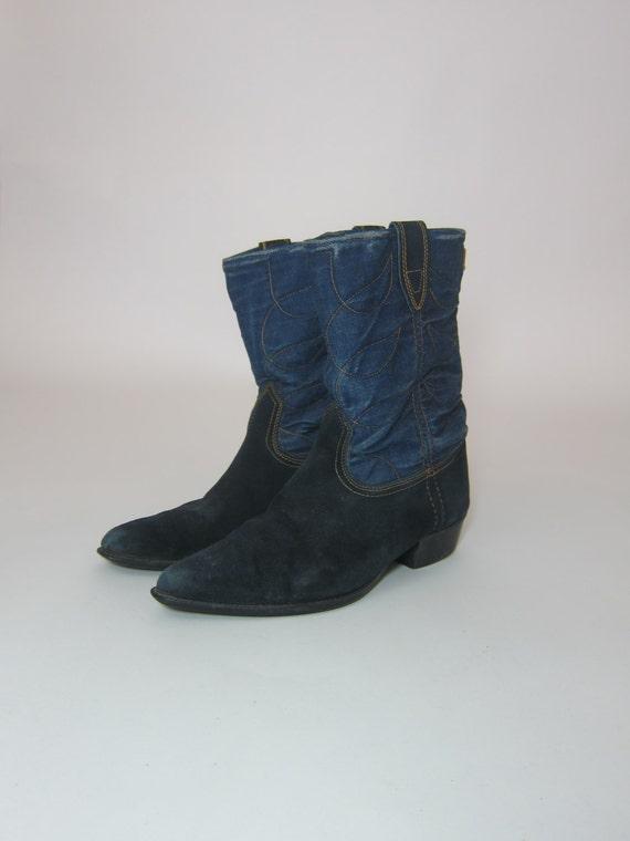 vintage acme denim cowboy boots blue suede leather size 5 5 b