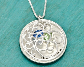 Sterling silver Mothers necklace with names and crystal birthstones   vintage inspired locket style necklace   Gift for Mom   Mothers Day