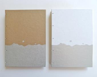 SALE - Notebook in Silver Splash / Blank Journal / Coptic Bound Sketchbook / Kraft or White