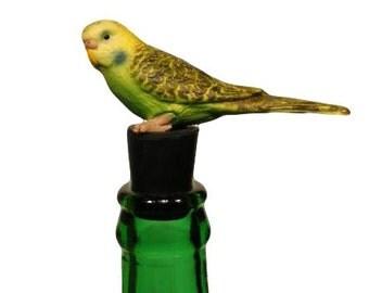 Wine Stopper Green Parakeet Wine Bottle Stopper, Handmade and Upcycled