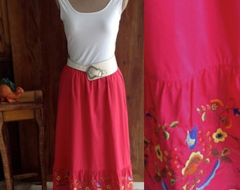 Women's BOHO Embriodered Maxi Skirt, Size Large - Xtra Large