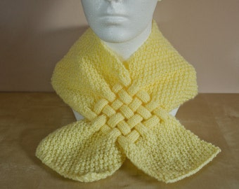 Wool Scarf - Childrens Scarf - Yellow Knit Scarf - Scarves For Kids - Scarves for Girl - Hand Knit Girls - Winter Accessories