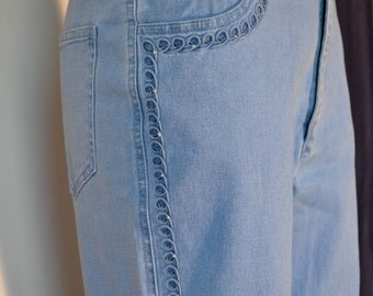 Vintage Blue Jeans Rhinestone Denim Pants Hippie Boho Bohemian Pants