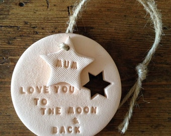 Blush clay keepsake with personalised tag ~ Love you to the moon ~ Valentine's Day ~ wedding gift ~ new baby gift ~ nursery decor