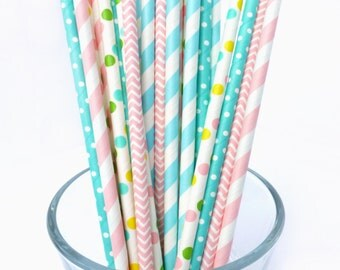 Gender Reveal Party - Pink and Blue Straws - Gender Reveal Decorations - Baby Shower Decor - Pink and Blue Baby Shower - Dot, Striped Straws