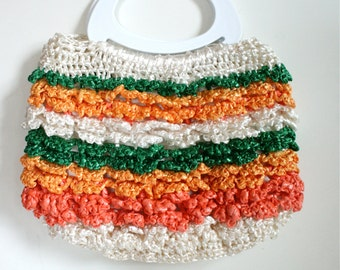 1970s Colorful Raffia Handbag with Plastic Handles