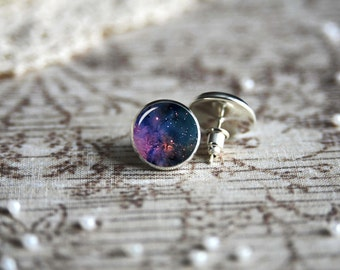 Purple Space Nebula Galaxy earrings, silver plated stud posts or leverback dangles, sister's gift, mother's gift