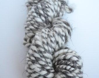 Handspun Natural Alpaca/Romanov 2-ply Art Yarn.