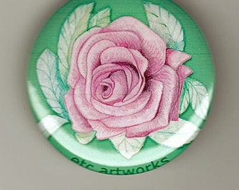 Pink Rose Sketch. 1.5 inch button pin or magnet