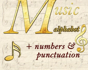 Music sheet alphabet clipart with capital and small letters, numbers and punctuation marks; for commercial use
