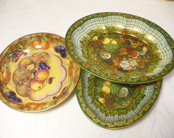 Three Vintage decorative metal serving bowls / dishes - fruits & flowers - Daher England - # HS-PL-022