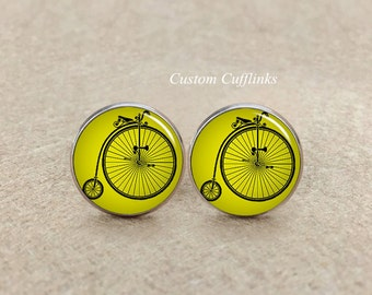 Bicycle Cufflinks, Bike cufflinks, gifts, Vintage bicycle cufflinks, wood bicycle cufflinks ,Mens Accessory,Picture Cufflinks Bike Cufflinks