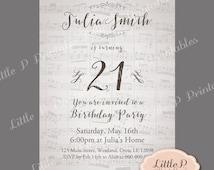 Vintage Music Note Invitation. 21st Birthday Invitation. Any Age Birthday Invitation, Adult Birthday Invitation, Sweet 16 Invite 044