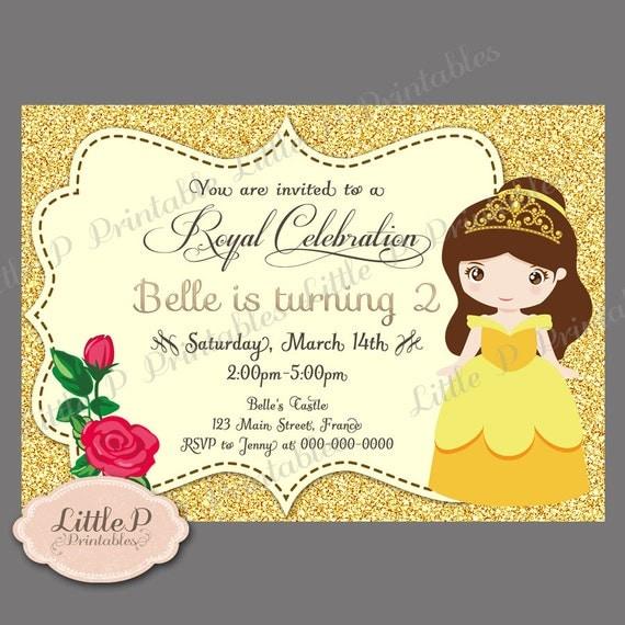 Princess Belle Birthday Party Printable Invitations Birthday Wikii